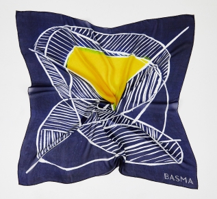 BASMA Design - Midnight Blue Silk Scarf Low Res